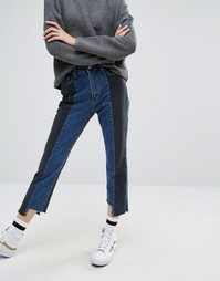 STYLENANDA Deconstructed Step Hem Panelled Jeans - Синий