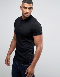 Трикотажная футболка-поло ASOS - Черный