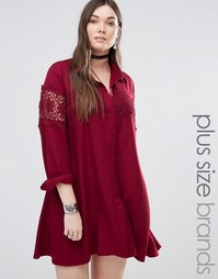 Alice & You Lace Insert Folk Shirt Dress - Красный