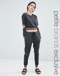 One Day Petite Metallic Ribbed Track Pant With Cutout Knee - Мульти