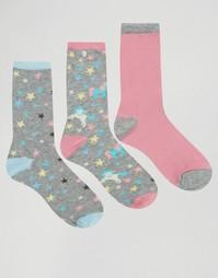 3 пары носков со звездами и единорогом Chelsea Peers - Мульти