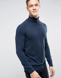 Вязаный джемпер-водолазка Selected Homme - Темно-синий