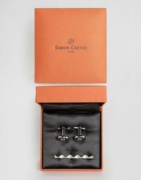 Подарочный набор с запонками и зажимом для галстука Simon Carter - Серебряный