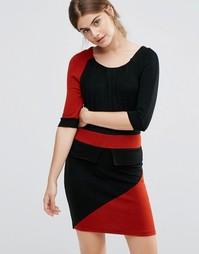 Платье-футляр в стиле колор блок с баской Jasmine - Черный