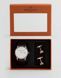 Подарочный набор с часами с кожаным ремешком и запонками Simon Carter - Черный