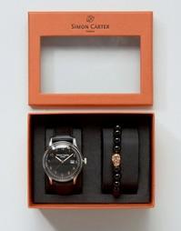 Подарочный набор с часами с кожаным ремешком и браслетом Simon Carter - Черный