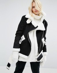 Удлиненная куртка-пилот из искусственной овечьей шерсти Story Of Lola - Черный