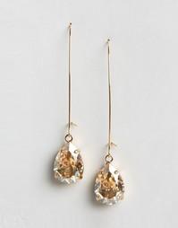 Серьги-подвески с кристаллами Swarovski от Krystal - Золотой