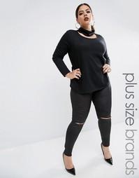 Леггинсы в кожаном стиле с разрезами на коленях Boohoo Plus - Черный