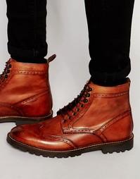 Кожаные ботинки на шнуровке Base London Troop - Рыжий