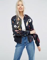 Куртка-пилот с цветочным принтом Weekday - Черный