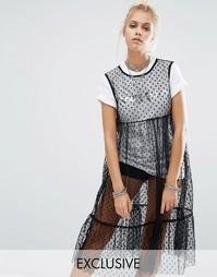 Сетчатое платье в горошек и футболка с принтом Space Cadet Milk It Vintage - Черный