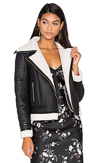 Wool & leather jacket with faux sherpa lining - GLAMOROUS