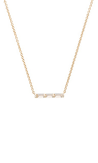 White topaz baguette mini bar necklace - EF COLLECTION