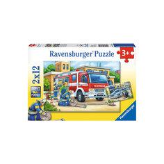 Пазл «Полицейские и пожарные», 2х12 деталей, Ravensburger