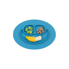 Тарелка с подставкой Mini Mat, ezpz, синий