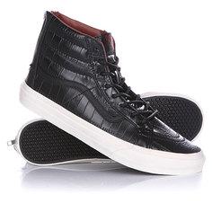 Кеды кроссовки высокие женские Vans Sk8 Hi Slim Zip Croc Leather Black