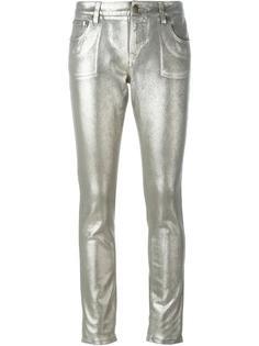джинсы с эффектом металлик Roberto Cavalli