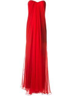 драпированное вечернее платье без бретелек Alexander McQueen