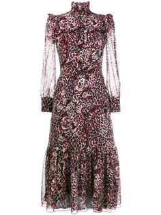 миди платье с рюшами и высоким воротом Saint Laurent