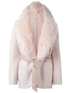 пальто с воротником из овчины и поясом Drome