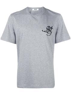 футболка с вышитым логотипом MSGM