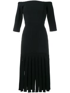 платье с открытыми плечами и бахромой Tata Naka
