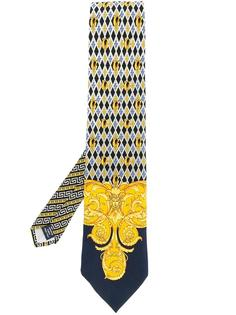baroque logo print tie Versace Vintage