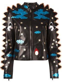 кожаная куртка с контрастными нашивками Valentino