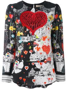 блузка с принтом сердец Piccione.Piccione