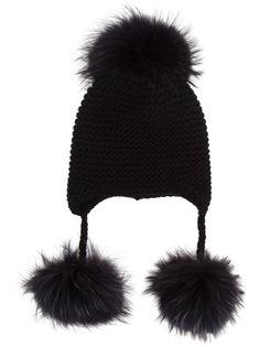 Cashmere and Fur Peruvian Beanie Hat Inverni