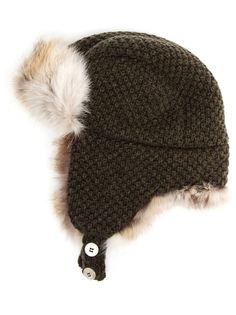 Braided Cashmere and Fox Fur Trapper Hat Inverni