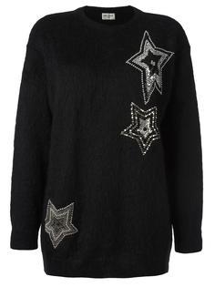 вязаный декорированный свитер  Saint Laurent