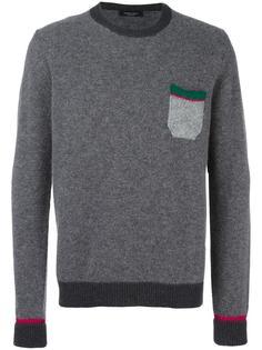 contrast pocket crew neck sweater Roberto Collina