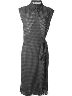 платье в клетку с запахом T By Alexander Wang