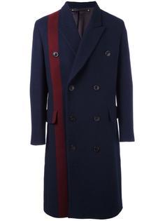 двубортное пальто с контрастной полосой Paul Smith