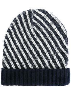 шапка-бини в диагональную полоску Julien David