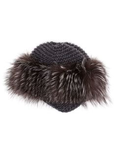 Cashmere and Fox Fur Fitted Hat Inverni