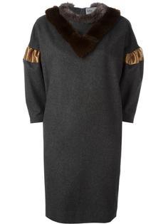 платье с воротником из искусственного меха Kolor