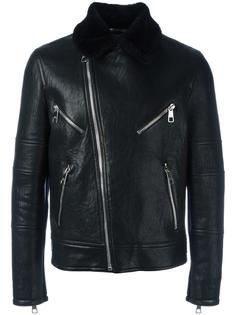байкерская куртка с меховым воротником Neil Barrett