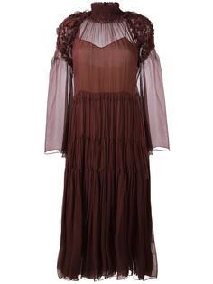 плиссированное платье с рюшами Chloé