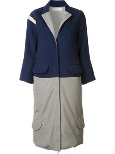 bicolour zipped coat Water