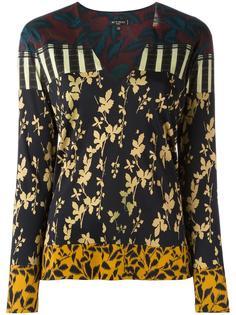блузка с V-образным вырезом и рисунком Etro