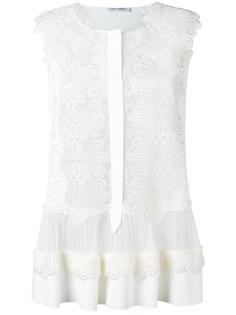 прозрачная блузка с кружевом Alberta Ferretti