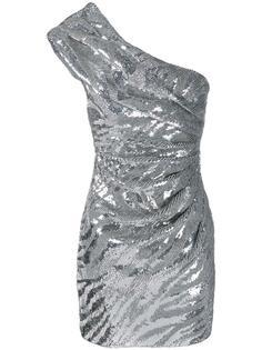 платье на одно плечо с пайетками Saint Laurent