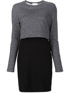 layered sleeves fitted dress Nicole Miller