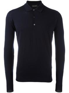 longsleeved knit polo shirt John Smedley