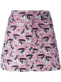короткая юбка с принтом губ Giamba