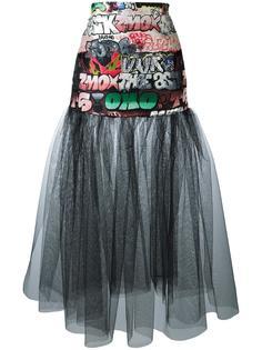 прозрачная юбка с принтом-граффити Giamba