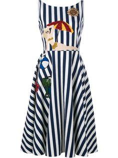 полосатое платье с аппликацией Dolce & Gabbana